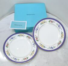 Pair of TIFFANY & CO. Dessert Plates. Tiffany Floral 1998 JAPAN NEW