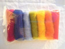 28 g / 1 oz Sheep Wool Fiber for Needle Felting 7 rainbow color's set