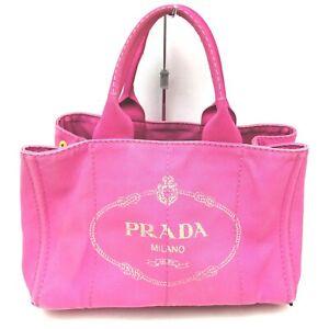Prada Tote Bag Canapa Hot Pink Canvas 1513034