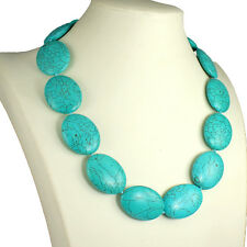 Stunning genuine semi precious turquoise chunky large oval shape choker necklace