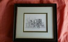 ROBERT CARAFELLI AMISH HORSE AND BUGGY FRAMED PICTURE