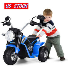 Motorcycle 6V 3-Wheel Kids Ride On Battery Battery Powered Electric Toy Car Blue