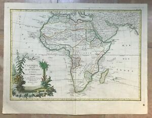 AFRICA 1762 Jean JANVIER LARGE NICE ANTIQUE ENGRAVED MAP OLD COLORS 18TH CENTURY
