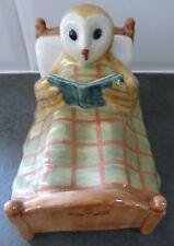 QUAILPOTTERY.. OWL READING IN BED..RARE PIECE