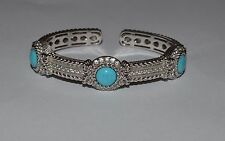 JUDITH RIPKA HEAVY STERLING SILVER TURQUOISE AND CZ HINGED CUFF BRACELET