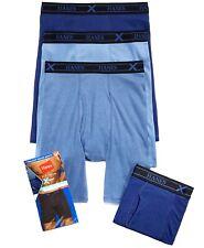 Four(4) Pack, Hanes Platinum X-Temp Long Leg Boxer Briefs, Assorted Blue, Size M