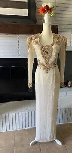 Vintage Alyce Designs Beaded Sequin Formal Dress Sz 10 Keyhole Back Cream/gold