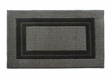 "Soft Microfiber Race Track Bathroom Shower Accent Rug, 30"" x 18"" Gray Black"