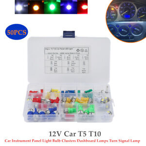 50PCS 12V Car T5 T10 Car Instrument Panel Light Bulb Clusters Turn Signal Lamp