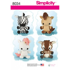 Simplicity Stuffed Animal Toys Unicorn Pony Zebra Giraffe Sewing Pattern 8034