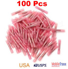 Marine 100~pcs Red 22-18 GA Heat Shrink Adhesive Glue Butt Wire Connector