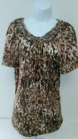 WHITE STAG Womens Short Sleeve Animal Print Braided Neckline Shirt Top Sz L