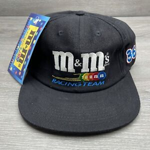 Nascar Hat Cap Strap Back Black Red M&M's Racing Team Racecar Adjustable Mens