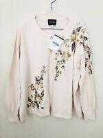 BOB MACKIE Wearable Art Cardigan Sweater Fall Floral Pearl Sequin NWT Plus 1X