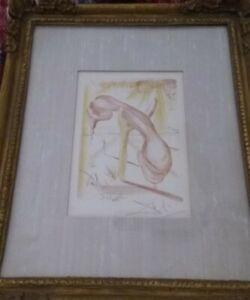 Salvador Dali Original Signed Etching 1968 SOFT MELTING TELEPHONE PHONE Framed