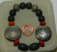 Black Lava Rock & Spice Red Sponge Coral Bead Silver Stretch Bracelet 5e 52