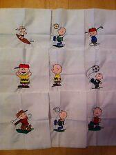 """9 Charlie Brown, machine embroidered quilt blocks, 8""""x 8"""""""
