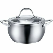 Zanzer Stainless Steel Kitchen Cookware 3 Quart Sauce Pot with Lid - Silver