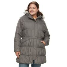 NWT Plus Size Columbia Sparks Lake Thermal Coil Jacket 1X CHARCOAL/GRAY LONG