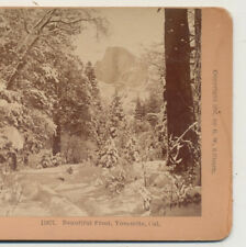 Yosemite CA in winter snow half dome distant Kilburn Stereoview 1897