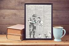 Banksy Stop & RICERCA MAGO DI OZ coperta di pagina di dizionario vintage, stampa artistica A4