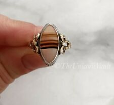 Sterling Silver & 10k Gold Vintage Clark & Coombs Agate Bow Ring