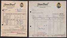 UNTERRIEDEN/WERRA, 2x Rechnung 1958, Kautabak- u Zigarren-Fabrik Grimm & Triepel