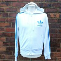 Adidas Originals Trefoil Logo Full Zip Hoodie White w Blue Men's M Medium