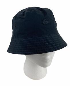NEW Lacoste Reversible Bucket Hat Cap Gray/Navy Blue Mens Size M - S/M Croc NWT