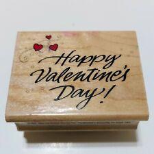 Hero Art Wood Rubber Stamp D264 Happy Valentines Day Heart Swirls