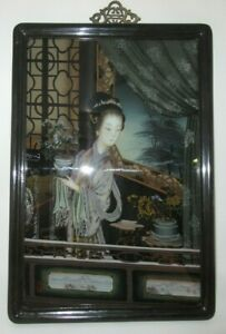 """Antique Chinese Reverse Painting On Glass 23"""" x 17"""" Interior Scene with Flowers"""