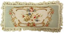 "12"" x 22"" Handmade Wool Needlepoint Rose Medallion Bolster Pillow with Tassels"
