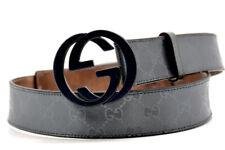 Gucci Authentic Black Imprime Interlocking G Mens Leather Belt Black Size 36