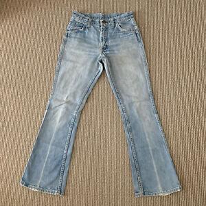 Vintage 60s 70s Lee Leens Lee Prest Flare Leg Faded Denim Jeans Size 26x28 USA