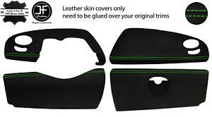 GREEN STITCH 4 PIECE DASHBOARD TRIM KIT LEATHER COVER FOR SMART ROADSTER 452