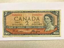 1954 Canada 2 Dollar Devil Hair Note VG+ #15127