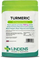 Lindens Turmeric  500mg 100 Capsules Curcumin Supplement w Copper & Black Pepper