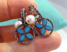 Gorgeous JH John Hardy Sterling Silver KAWUNG Blue Enamel Pearl Pierced Earrings