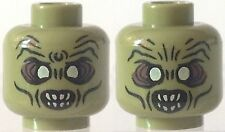 1x Lego head Zombie face green teeth RE LOTR orc hobbits uruk hai monster figher