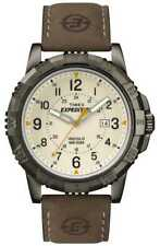 Timex T49990, Men's Expedition Brown Leather Watch, Indiglo, Date
