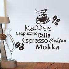 Coffee Kaffe Vinyl Wall Art Sticker Quote Wall Stickers  Kitchen Wall Home Mural