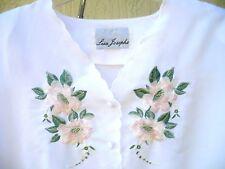 MOTHERS DAY VTG LISA JOSEPHS L XL WHITE PINK EMBROIDERED FLOWER BLOUSE WOMEN TOP