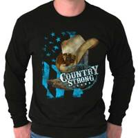 Country Strong Western Cowboy Southern Gift Long Sleeve Tshirt Tee for Women