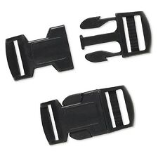 2 Big Black Plastic Buckle Clasps For Parachute Survival Bracelets w/ 3mm Hole