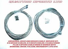 2 GEAR & 2 BRAKE INNER CABLES + CRIMPS MTB, SHIMANO ETC
