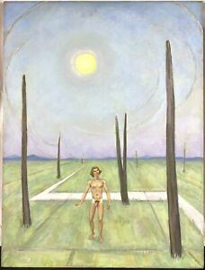 1973 Emlen Etting Jr. Surrealist Landscape Nude Male Oil Painting Gay Interest