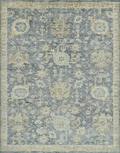 Village Oushak Rug, 8'x10', Blue/Brown, Hand-Knotted Wool Pile