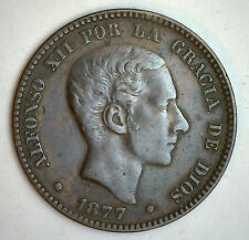 1877 OM Bronze Spain 10 Centimos Spanish Coin XF