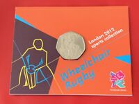 London 2012 Olympic WHEELCHAIR RUGBY 2011 50p Pence BU Coin In Official Sealed