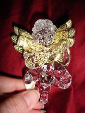 "Christmas Tree ornaments acrylic angel gold wings mandolin 4 x 3"" NWOT set of 4"